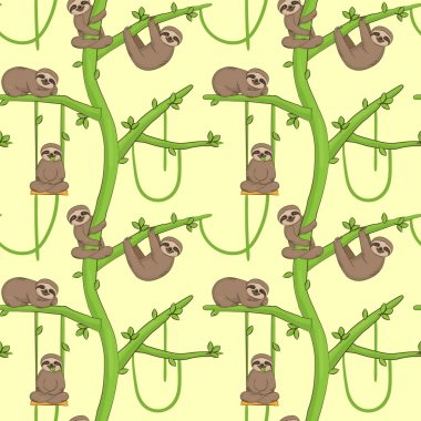 Seamless sloth on tree patern