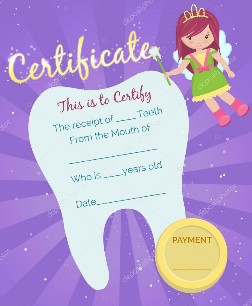 Plantilla de certificado de recibo de hada de los dientes — Archivo ...