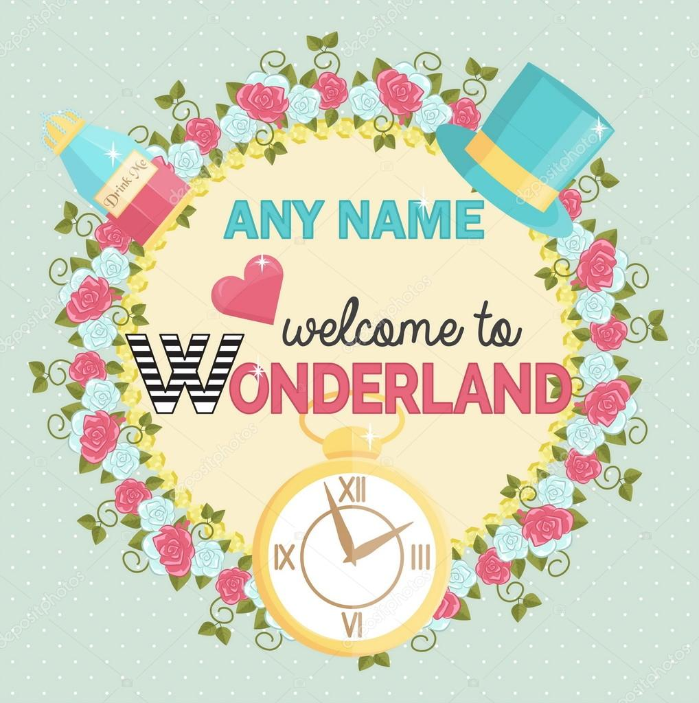 Wonderland themed party invitation