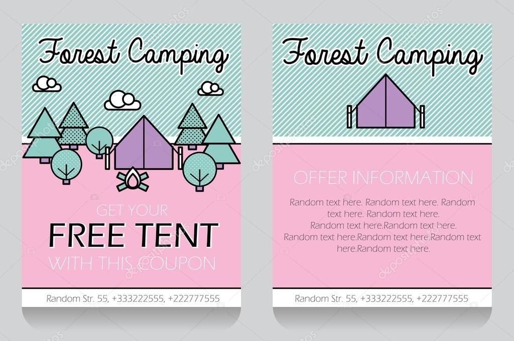 Wald camping unter dem Motto Geschenk Gutschein Vorlage ...
