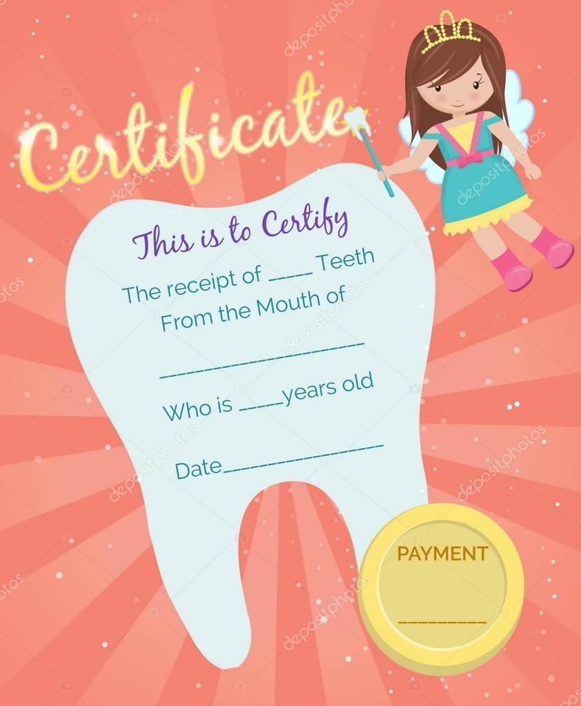 Zahnfee Eingang Zertifikatvorlage — Stockvektor © Medeja #110797668