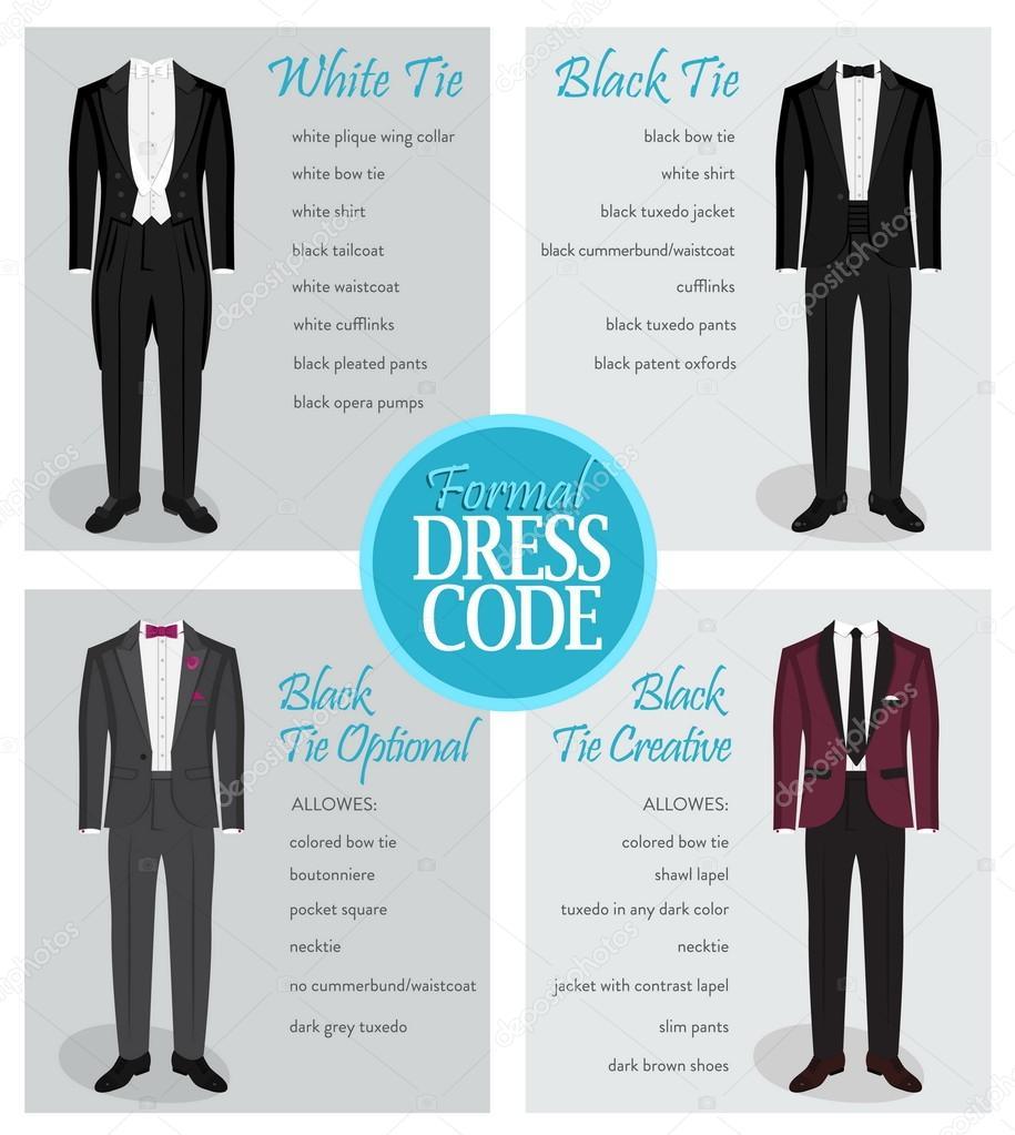 Formal dress code guide for men — Stock Vector © Medeja #116027662