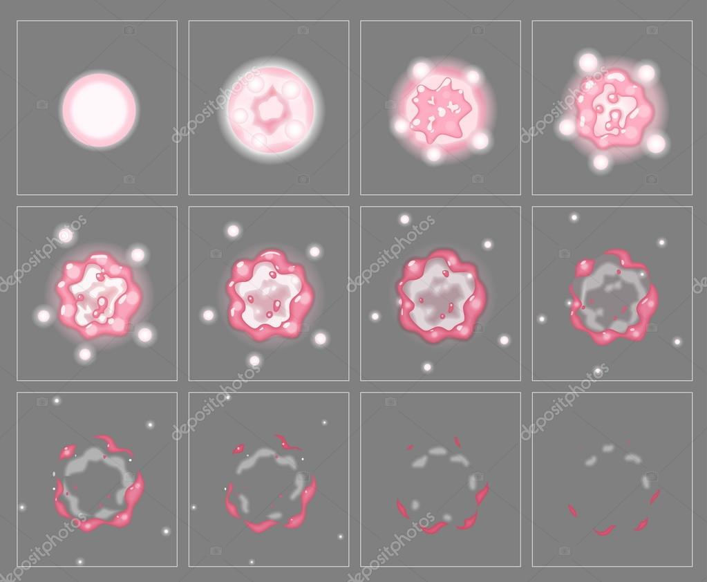 Pink fire explosion special effect animation frames