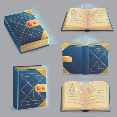 Magic book with spells in different positions.