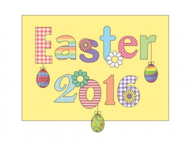 Colorful Happy Easter 2016 greeting card with flowers eggs and fancy patterned font elements composition. For cards, banners, etc.