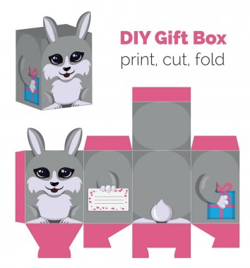 Adorable Do It Yourself DIY rabbit gift box with ears for sweets, candies, small presents. Printable color scheme. Print it on thick paper, cut out, fold according to the lines.