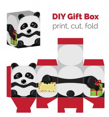 Adorable Do It Yourself DIY panda gift box with ears for sweets, candies, small presents. Printable color scheme. Print it on thick paper, cut out, fold according to the lines.