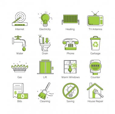 A set of modern thin line with green coloring public utility, housing facilities, communal housing services vector icons.
