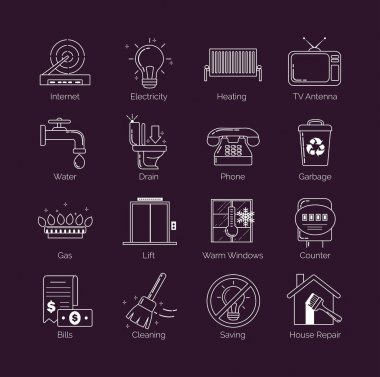 A set of modern thin line white public utility, housing facilities, communal housing services vector icons.