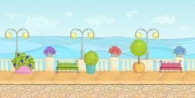 Sunny cartoon seafront landscape, endless vector seaside background for computer games. Stone fence, plants, flowers, benches, paving