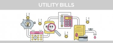 Flat vector thin line scribble header banner illustration of how to pay and calculate utility household facility communal bills.
