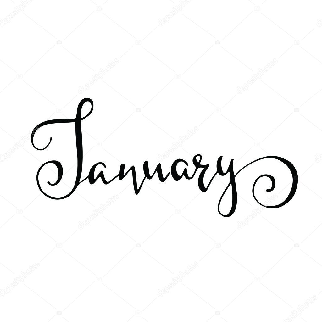 Calligraphy sign january stock photo Calligraphy and sign