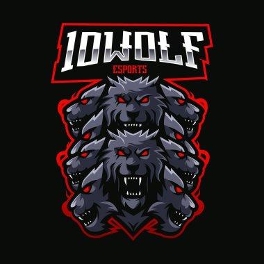 Ten wolves mascot logo design vector icon