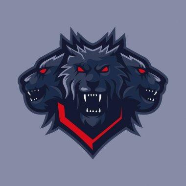 Three headed wolf mascot logo design vector icon