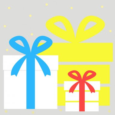 An illustration. Set of gift boxes on a gray background. Vector. icon