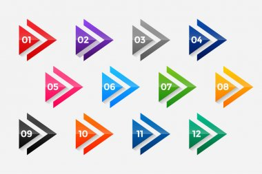 Arrow directional bullet points numbers from one to twelve icon