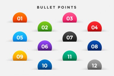 Bullet points numbers set in half circle style icon
