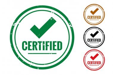 Certified check quality label or rubber stamp set icon