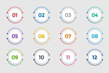 Circular bullet points numbers from one to twelve icon