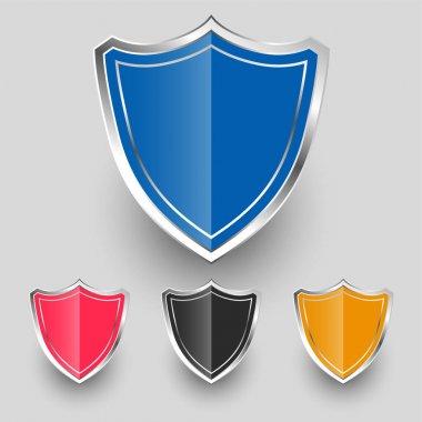 Metallic badges shield symbols set design icon