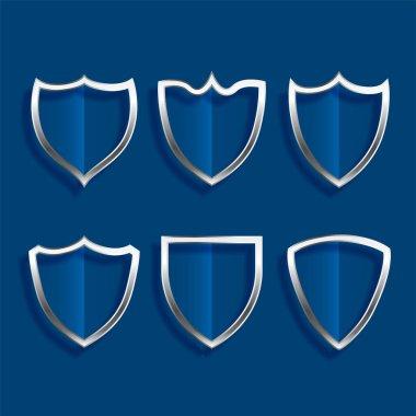 Metallic shield badges shiny icons set design icon