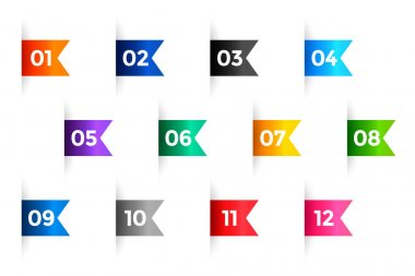 Ribbon bullet points numbers from one to twelve icon