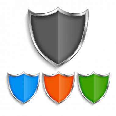 Shiny metallic shield symbols badges set icon
