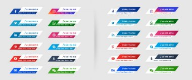 Social media icons lower third banners template icon