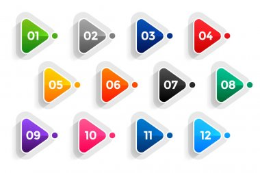 Triangle directional bullet points numbers from one to twelve icon