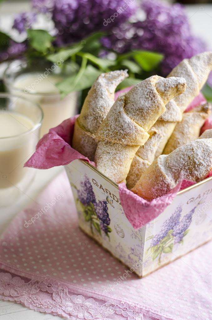 Croissants with milk and lilac