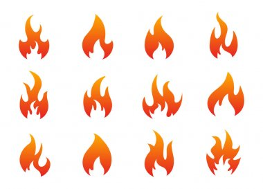 Red Burning Fire icons isolated on a white. Flame icons collection. icon