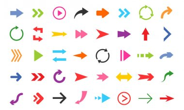 Colorful arrows collection. Symbols for web design or app. Direction pointer set. icon