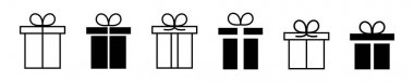 Gift box linear and flat black icons. Present icon vector collection. icon