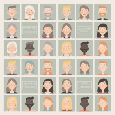 Collection of flat  icons with young people, middle aged people, old people and kids faces in retro color