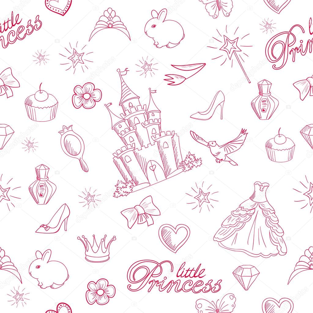 Pink princess seamless pattern.