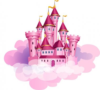 The vector illustration of pink princess magic castle in a clouds. clip art vector