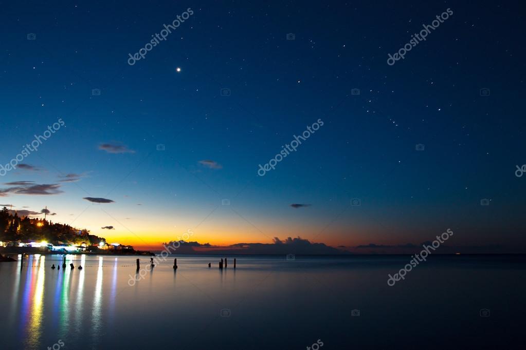 Coastal Night Lights U2014 Stock Photo