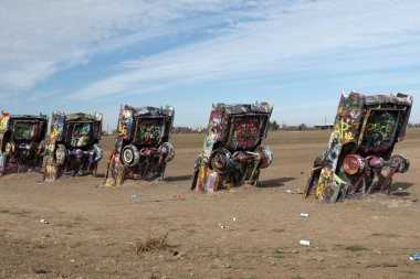 Cadillac Ranch installation in Amarillo, Texas