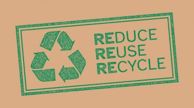 Reduce, reuse, recycle symbol, stamp effect icon