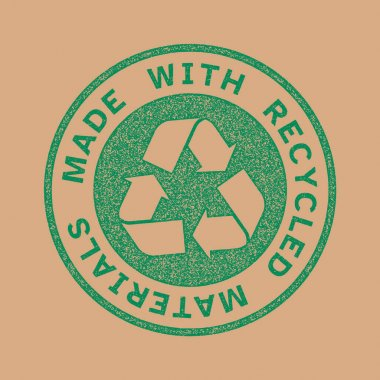Made with recycled materials stamp, recycle symbol, stamp effect icon