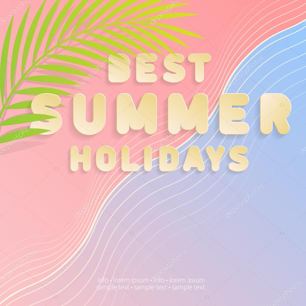 best summer holidays pink and blue wavy background with a palm leaf