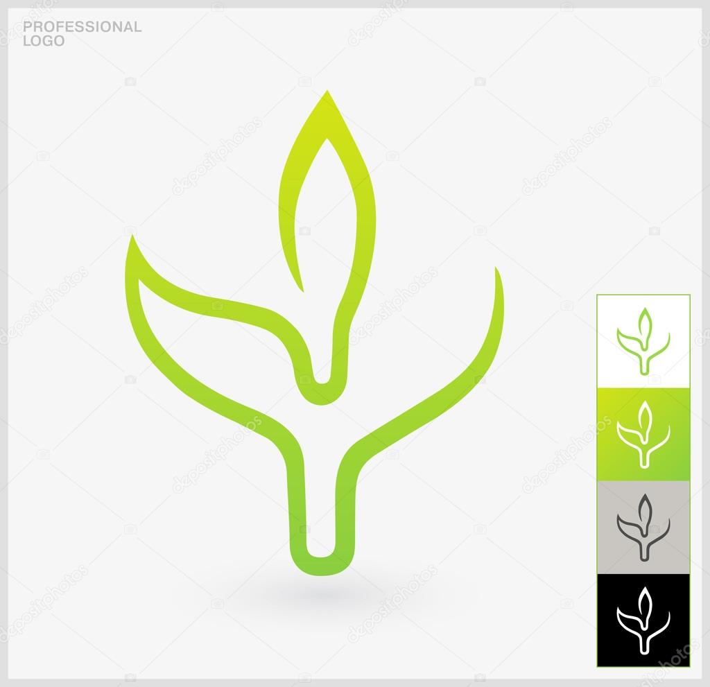 Eco Logo Elements A Single Green Leaf On A White Background