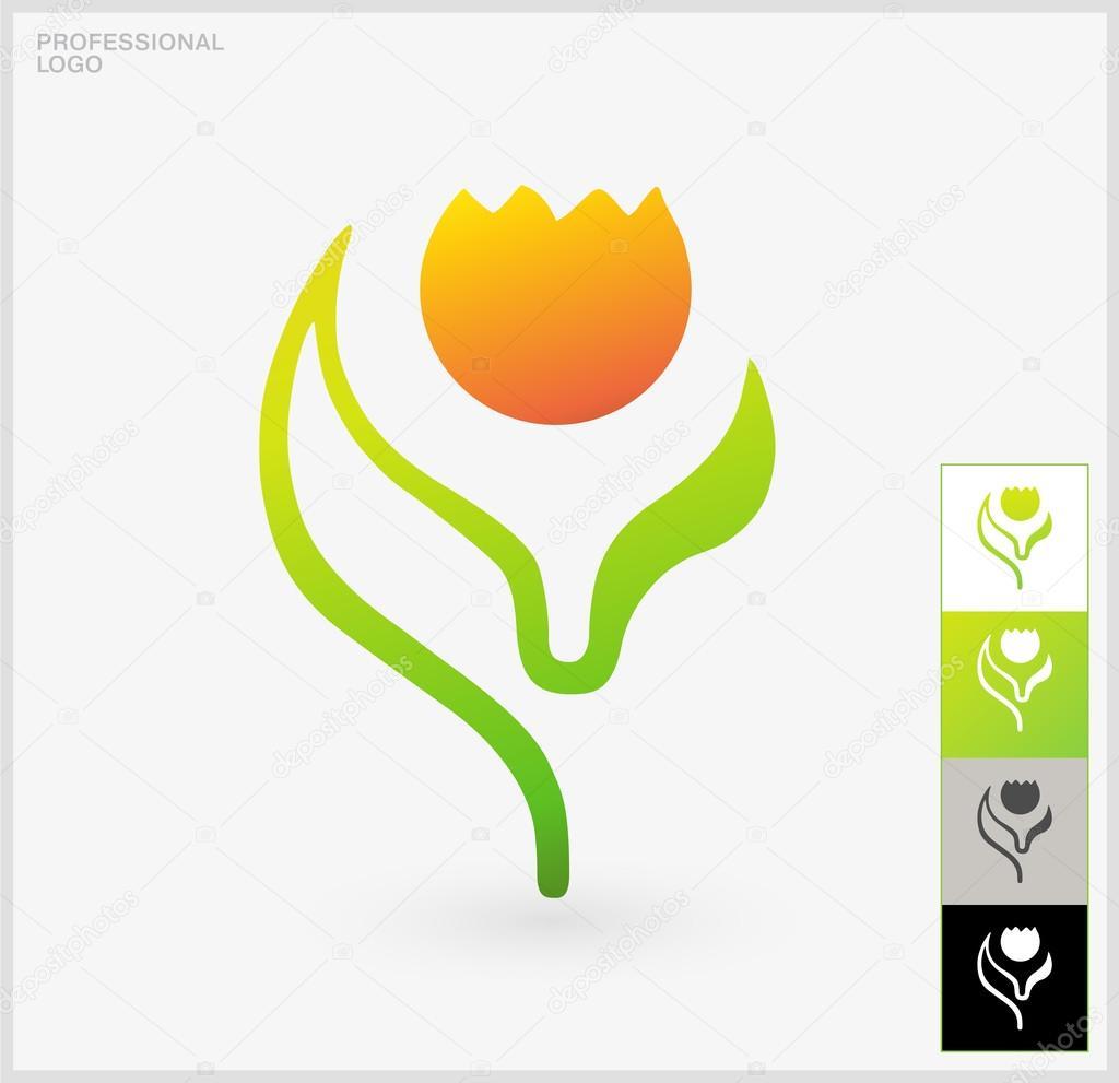 Natural Logo Elements Vector Illustration Of One Single Flower Designed On A Plain White Backdrop Professional Presentation Different Backgrounds