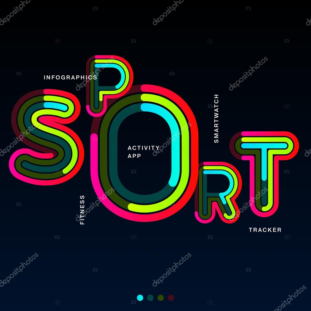 word sport is written in different colorful lines on a black solid