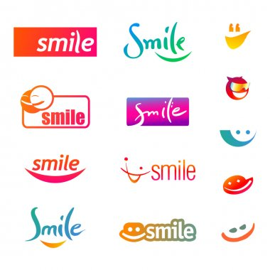 Set of smileys icons isolated on a white background. Vector illustration.