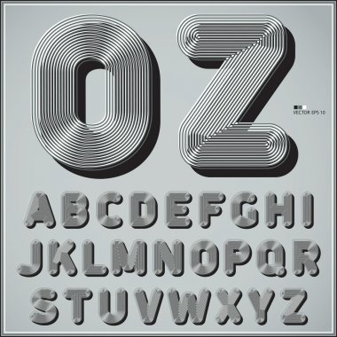 Striped line alphabet in retro style. Best for use for posters, cards, flyers and web design. Vector illustration.
