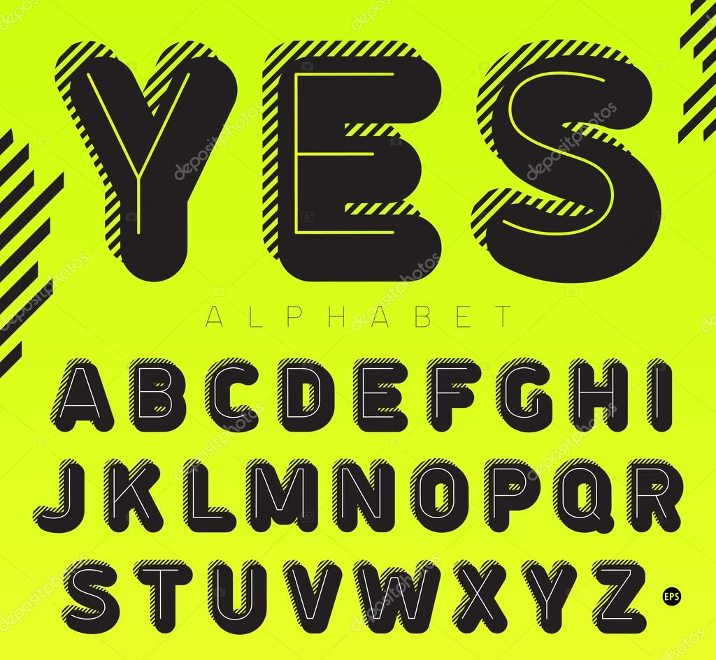 Graphic font with lines, vector alphabet, stylish and trendy letters