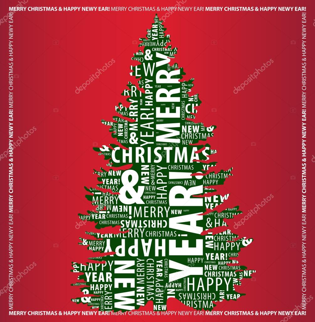 Merry christmas and happy new year greeting card with a christmas merry christmas and happy new year greeting card with a christmas tree shape from letters on m4hsunfo