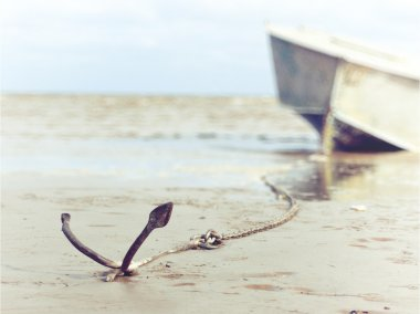 anchored on the shore with boat