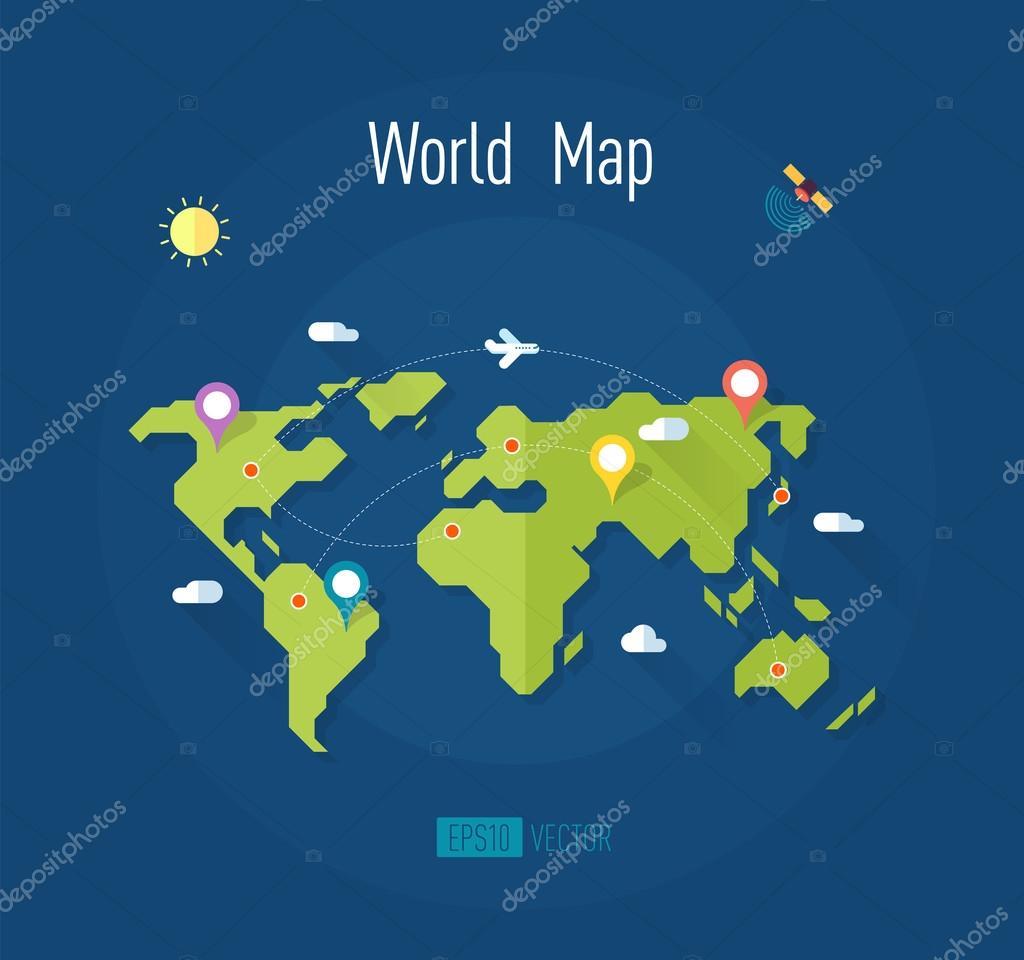54ffa4a525 Mapa del mundo con marcas formas punteros satélite avión sol las nubes —  Vector de stock